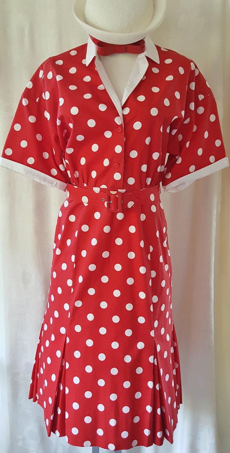 500 Vintage Style Dresses for Sale | Vintage Inspired Dresses HAPPY Polka Dot Dress 1960s SophisticatedLaRue $72.00 AT vintagedancer.com