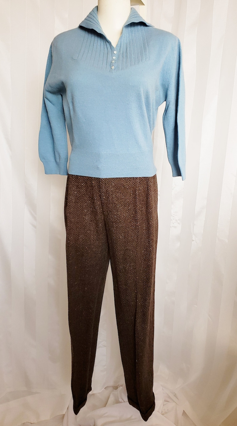 1950s Sweaters, 50s Cardigans, 50s Jumpers MAD MEN-Style Sweater & Slacks Set 1960s SophisticatedLaRue $98.00 AT vintagedancer.com