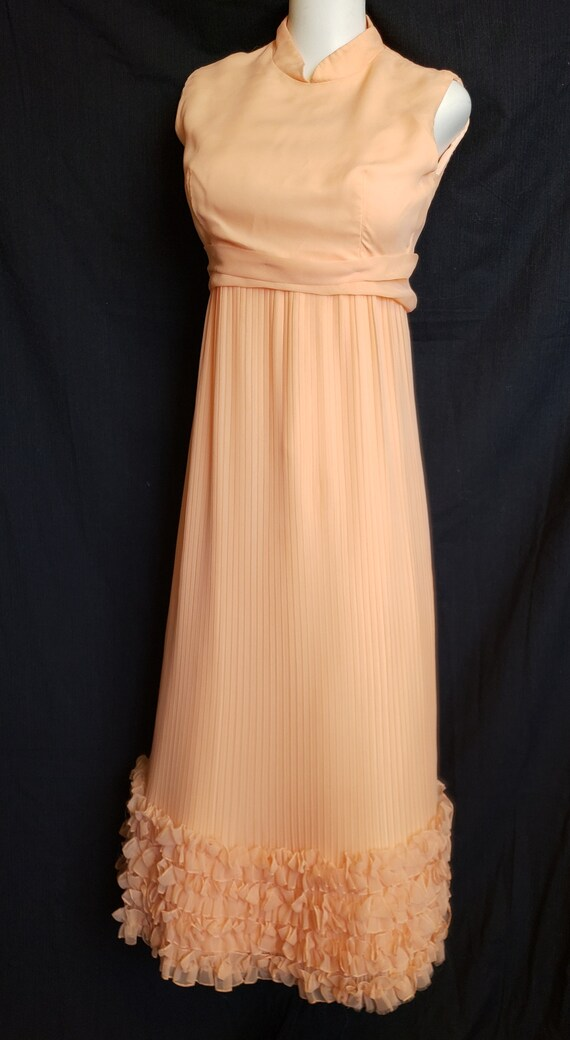 Ruffles & Pleats a'Plenty Peach Gown - image 3
