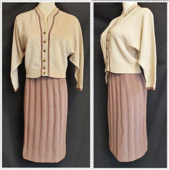 1940's Kimberly Tasty 'MOCHA' Knit Suit