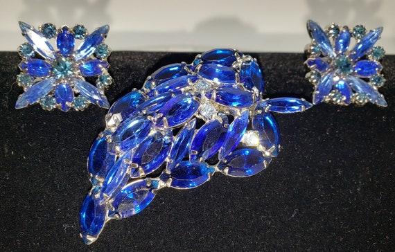 Mid-Century Bright Blue 3-Piece Jewelry Set  1950'