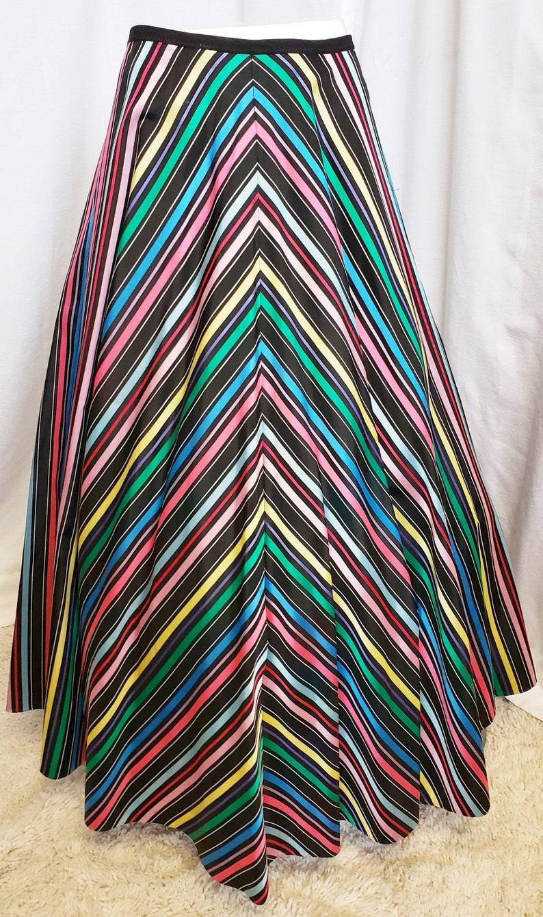 60s Skirts | 70s Hippie Skirts, Jumper Dresses RAINBOW Fancy Fascinating Full Long Skirt 1960s SophisticatedLaRue $68.00 AT vintagedancer.com