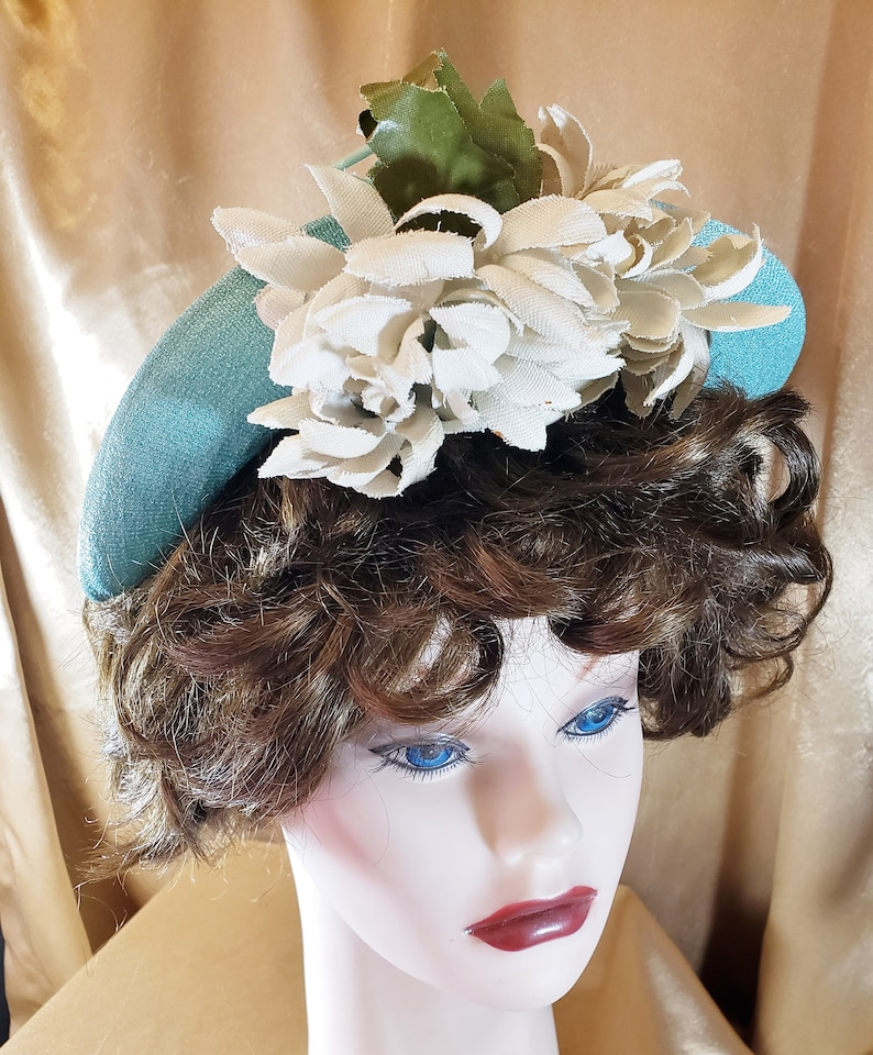 1930s Style Hats | Buy 30s Ladies Hats 1930s - 40s Flowered Aqua Fancy Hat SophisticatedLaRue $58.00 AT vintagedancer.com