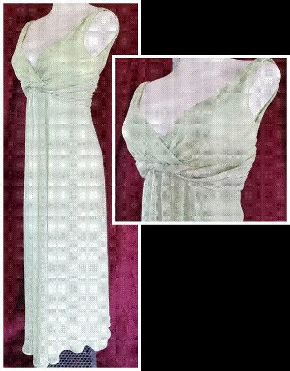 Goddess Green Chiffon Dress  1960's