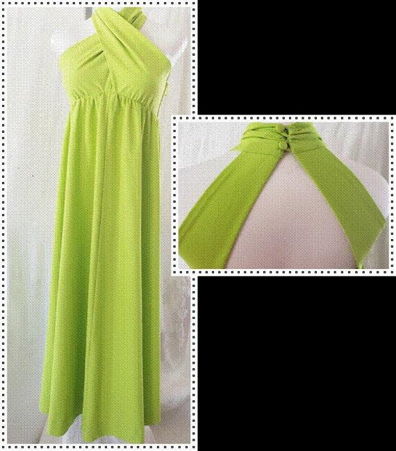 Chartreuse Summer MAXI Dress  1960's