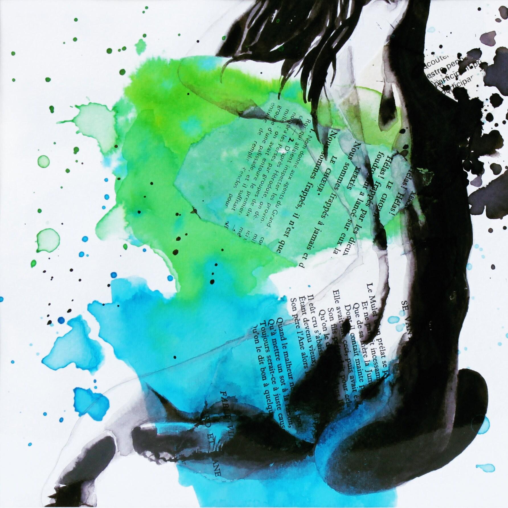 Nu artistique peinture femme modèle vivant aquarelle encre | Etsy