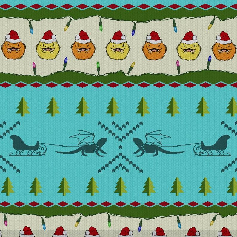 Santa Beardie  Snowflake Blue  Bearded Dragon Holiday Leggings  Long and Capri