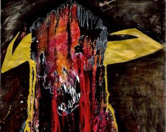SKELETON BLOOD PRINT! Horror print, Minotaur Skull, Blood, Gore
