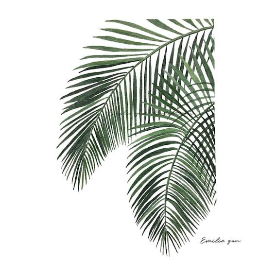 reproduction aquarelle feuille de palmier etsy. Black Bedroom Furniture Sets. Home Design Ideas