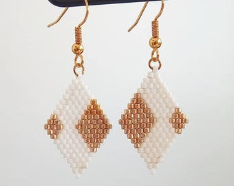"""Earrings """"diamonds 3"""" white and gold"""