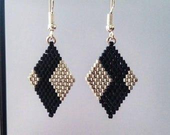 "Earrings ""diamonds 3"" black and silver"