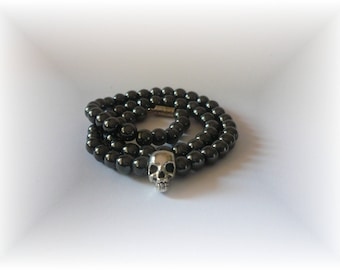 skull Choker beads Hematite skull necklace, Choker gray genuine Hematite, crew neck biker, semi precious beads