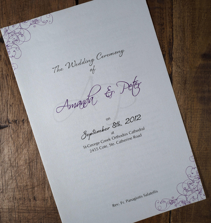 Greek Wedding Ceremony Program Greek Wedding Program Greek