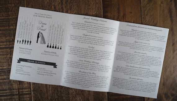 folded over wedding program tri fold wedding program etsy