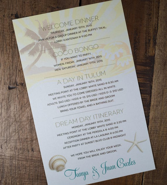 Dream Day Itinerary Destination Itinerary Welcome Itinerary Etsy