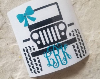 Jeep decal, jeep girl decal, jeep monogram decal, jeep with bow decal, monogram decal, truck decal, car decal
