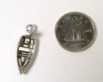 Boat charm - rowboat charm - antique silver tone charm