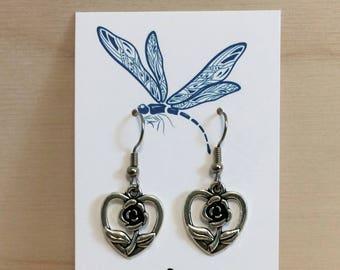 Heart and rose earrings - antiqued silver earrings