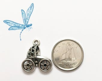 Baby carriage charm - baby buggy charm - antiqued silver tone charm
