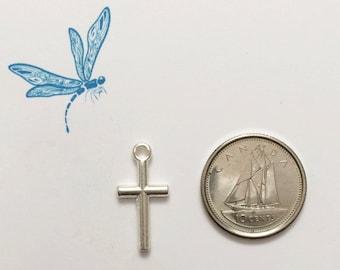 Cross charm - religious cross charm - Christian cross charm - silver plated cross charm - silver tone charm