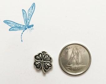 Four-leaf clover charm - lucky charm - clover charm - antiqued silver tone charm