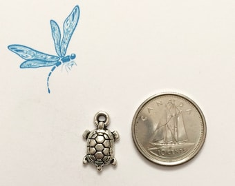 Turtle charm - silver turtle charm - antiqued silver tone charm