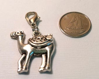 Camel charm - silver charm - antiqued silver tone charm