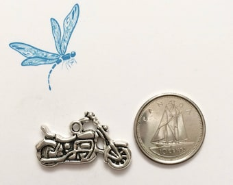 Motorcycle charm - antiqued silver tone charm