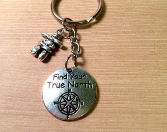 Find Your True North and Inukshuk key ring - arctic key ring - stocking stuffer - gift for her - gift for him