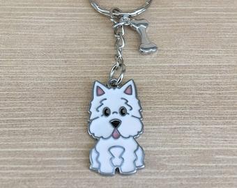 Westie//Scottie//Terrier. Dog//Puppy//Pet Keyring//Bag Charm Birthday Present//Gift