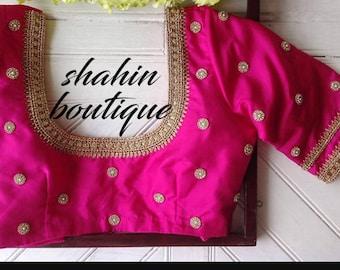 Cute Pink Silk designer saree blouse with beautiful kundan work