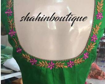 Simple Sweet Dark Green Handmade Designer Silk Saree Blouse Etsy