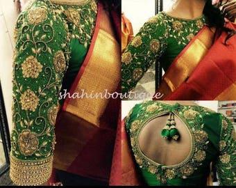 a63e0afc0e79c8 Beautiful Dark green Maharani high neck long sleeve silk saree blouse with  detailed Golden Floral Zardosi work