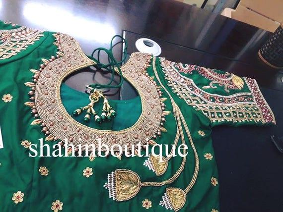 Green Pattu Full Zardosi And Threadwork Silk Saree Blouse Etsy