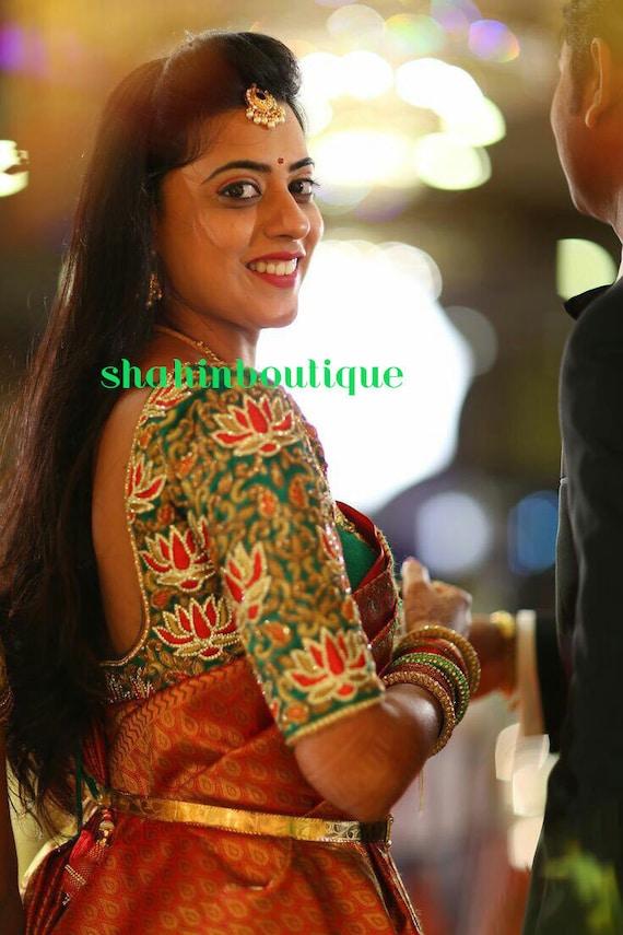 Red Lotus Full Zardosi And Thread Work Silk Designer Saree Etsy