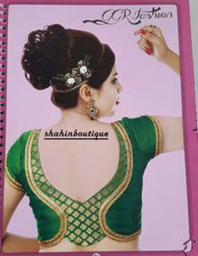41c1356821b136 Stitched handmade Green Zari work designer silk Saree Blouse