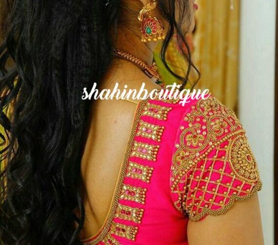 9c779284f70b23 Bright pink full Kundanpearl and beads work handmade Silk
