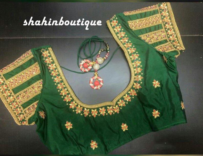 a358806c362d7e Handmade Classic Green and Gold Kundan work Pattu saree Blouse