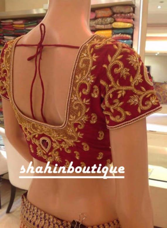 Handmade Bridal Maggam Work Heavy Designer Silk Saree Blouse Etsy