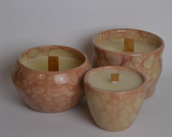 bougies dans tasses à la main, lot de 3, avec mèche en bois