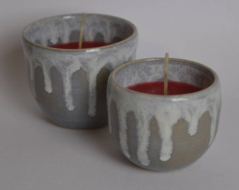 Candles in handmade cups, set of 2