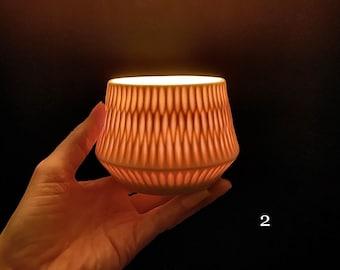 Handmade porcelain tea light holder, lantern.
