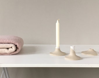 Candle holder set of 3, candlestick made from ceramic stoneware speckled clay - made to order