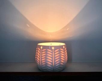 Handmade porcelain candle holder, lantern - floral design