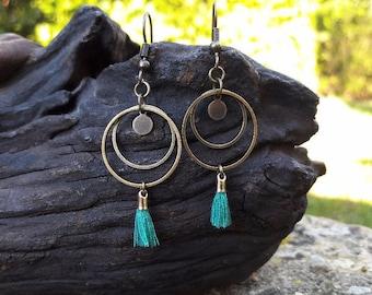 Earrings double rings, turquoise tassel