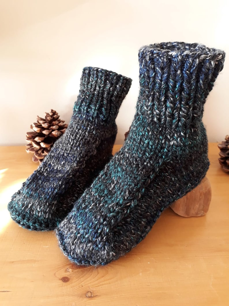 d2a44fc489b3d Hand Knitted Chunky Men's Slippers Sizes UK 8 to 13 (US 8.5-13, EU 42-48)  Dorm Slippers Bed Socks Thick Blue Tweed Effect Yarn Super Cosy