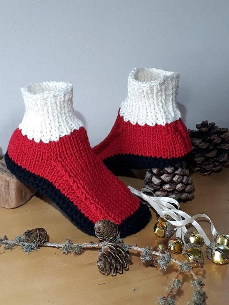 374a9fa866dd6 Slippers, Festive Red Black Off-White, 100% Merino Wool, Hand Knitted, Dorm  Boots, Bed Socks, Holidays, Santa, UK 5-6 EU 38-39 US 7.5-8.5