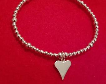 Sterling silver, thin heart bracelet