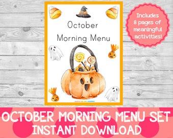 October Morning Menu PDF,Halloween Morning Menu,Morning Menu