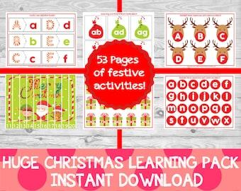 HUGE Christmas Learning Pack, Preschool Printables, Christmas Preschool Pack, Christmas crafts, learning printables,INSTANT DOWNLOAD